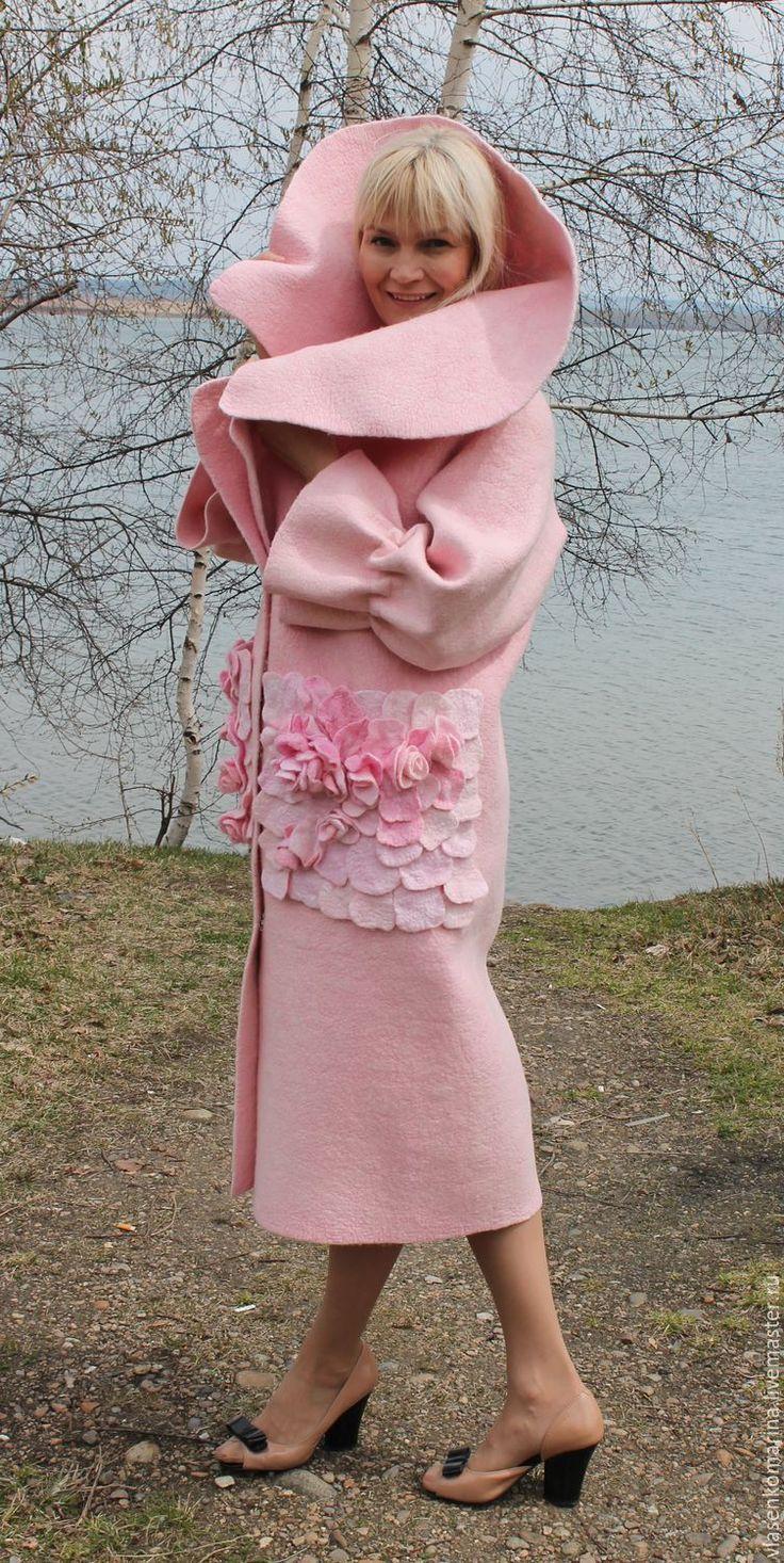 Купить Пальто валяное Розалия - однотонный, розовый, пальто женское, пальто валяное, шерстяное пальто