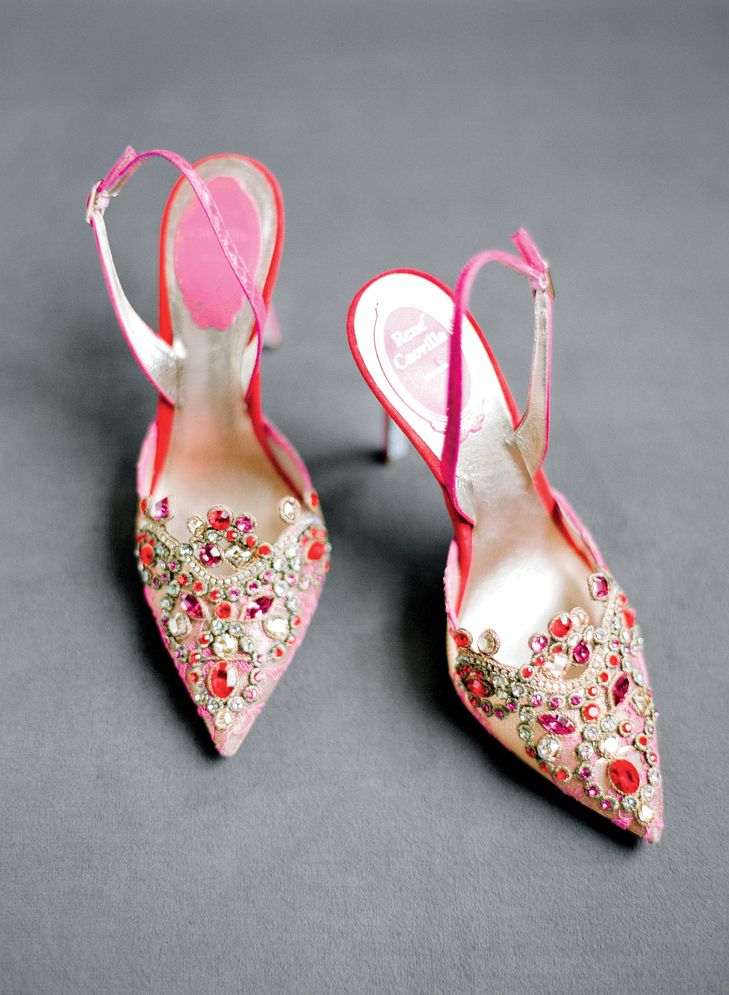 Red and pink, Swarovski-encrusted Rene Caovilla sling back bridal shoes | Lacie Hansen Photography | TheKnot.com
