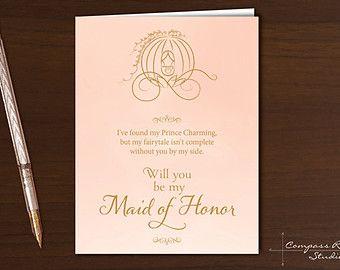 Bridesmaid Invitation, Will You Be My Bridesmaid Card, Cinderella, Disney, Bridesmaid Card, Wedding Party Card, Bridesmaid Proposal, Gift