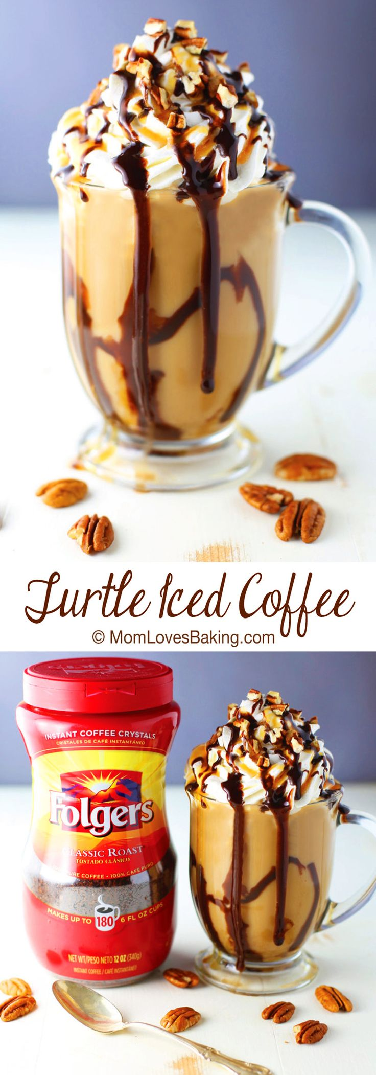 Turtle Iced Coffee has all the flavors of the famous candy without all the calories. Such a fun drink. Why not have a little turtle in you coffee! #ad #folgers
