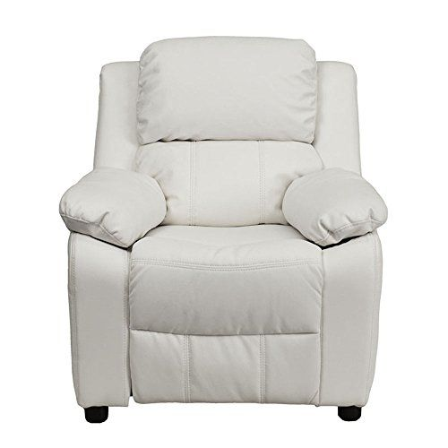Offex OFBT7985KIDWHITEGG Deluxe Heavily Padded Contemporary White Vinyl Kids Recliner with Storage Arms >>> Check out the image by visiting the link.