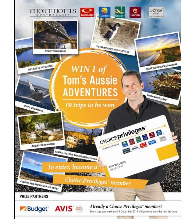 Win 1 of Tom's Aussie Adventures 10 Trips to be won!! To enter, become a Choice Privileges member. Join Now: http://www.choicehotels.com.au/en/choice-privileges Click here for more details: http://tomsaussieadventures.com.au/