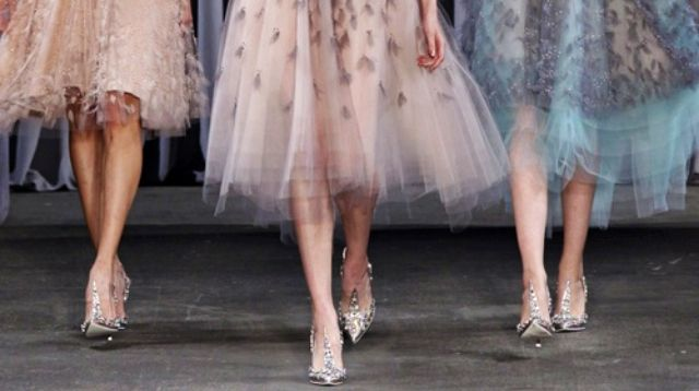 Walk like a princess. Love this misty rose color dress. #fashion #design #runway