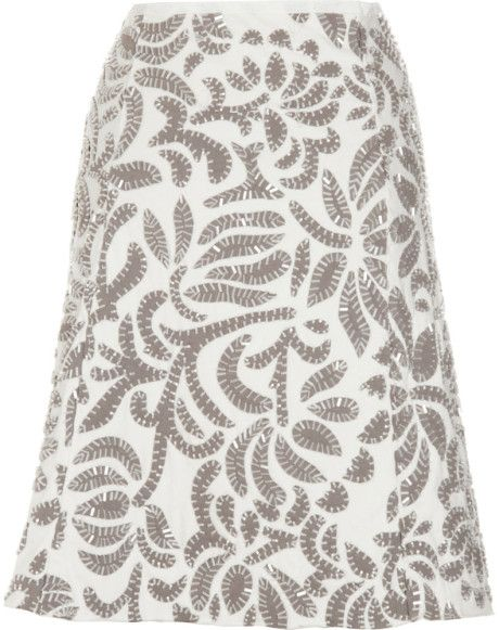 Alabama Chanin Annas Garden Skirt in White - Lyst
