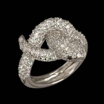 Anel de prata com ródio cobra com zircônia