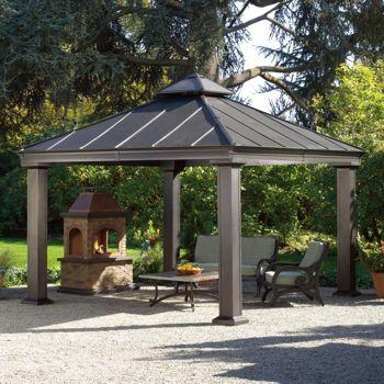 Sunjoy 12 ft. x 12 ft. Royal Square Hardtop Gazebo. Metal roof.  Costco $1700