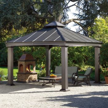 Sunjoy 12 ft. x 12 ft. Royal Square Hardtop Gazebo. Metal roof.  Costco $1700