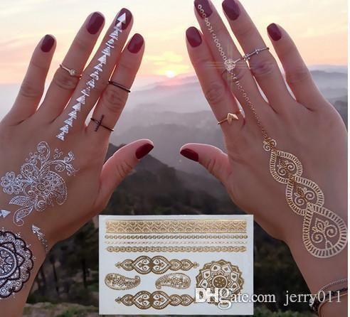 Gold Tattoo Geschlechtsprodukte Halskette Armbänder Tatoo Metall Temporäre Tätowierung Frauen Blinken Metalic Gefälschte Gold