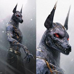 Résultats de recherche d'images pour « reaper dark heaven egyptian jackal statue »