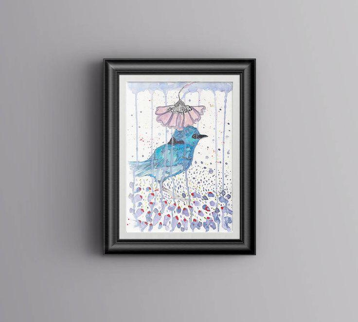 Blue Wren Watercolor Art Print, Nursery Printables, Digital Download Art| Printable Blue Wren, Blue Bird Printable Art, Made in Australia by PaperJamink on Etsy