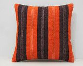 18x18 handwoven orange throw pillow orange stripe pillow orange pillow cover orange pillow case orange cushion cover kilim pillow sham 14314