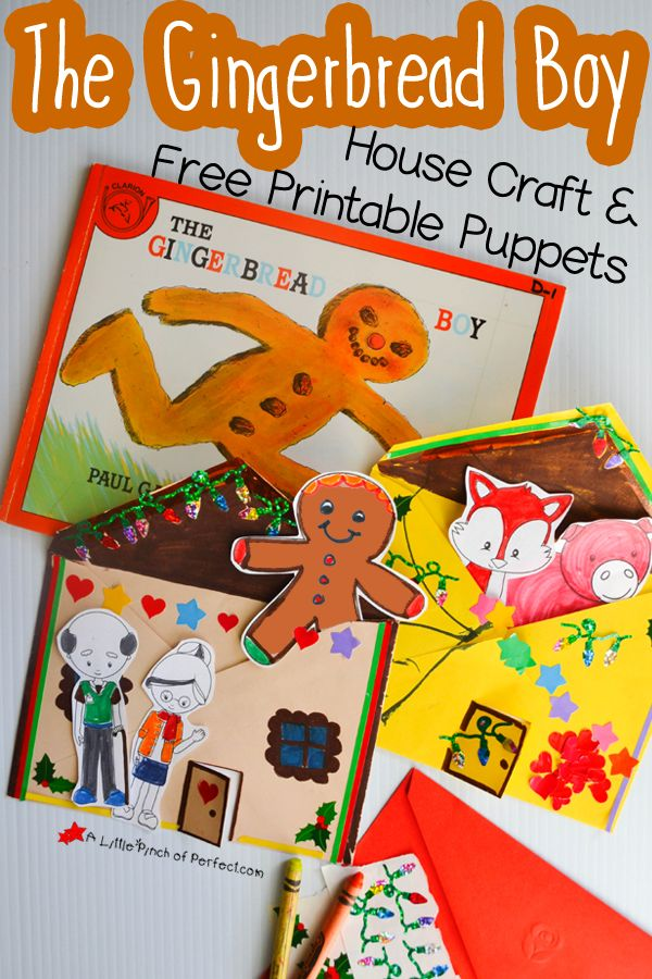 The Gingerbread Man House Craft and Free Printable Puppets-Kids can decorate an envelope and put their puppets inside when they are done retelling the story with their puppets.