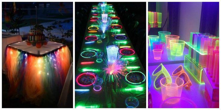 Neon Party Decoration Ideas and Accessories #neon #party #decoration #ideas #decoracion #fiesta #15años #bodas #cumpleaños #birthday