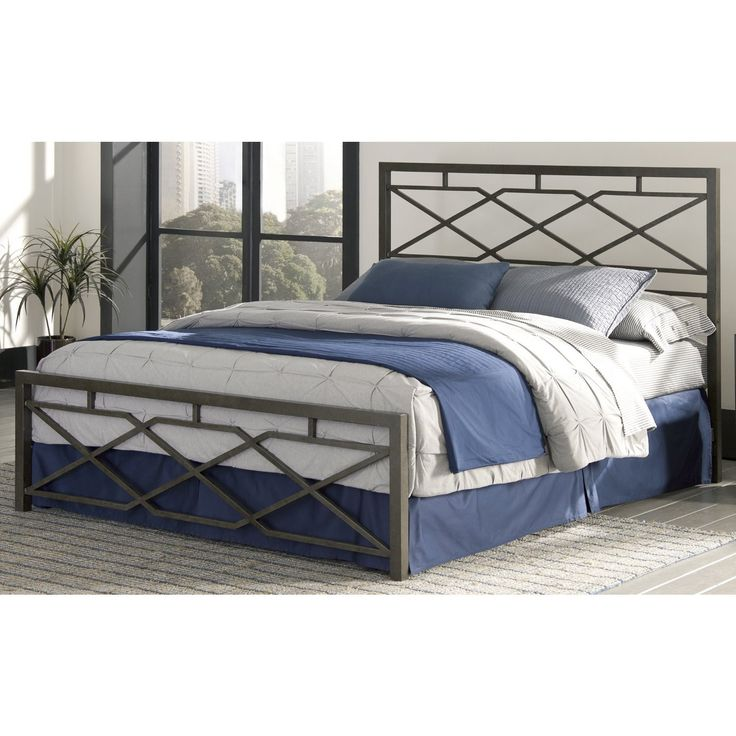 Fashion Bed Group Alpine Snap Rustic Pewter With Geometric Panel Design And Folding Metal Side Rails Cal King Silver Size California