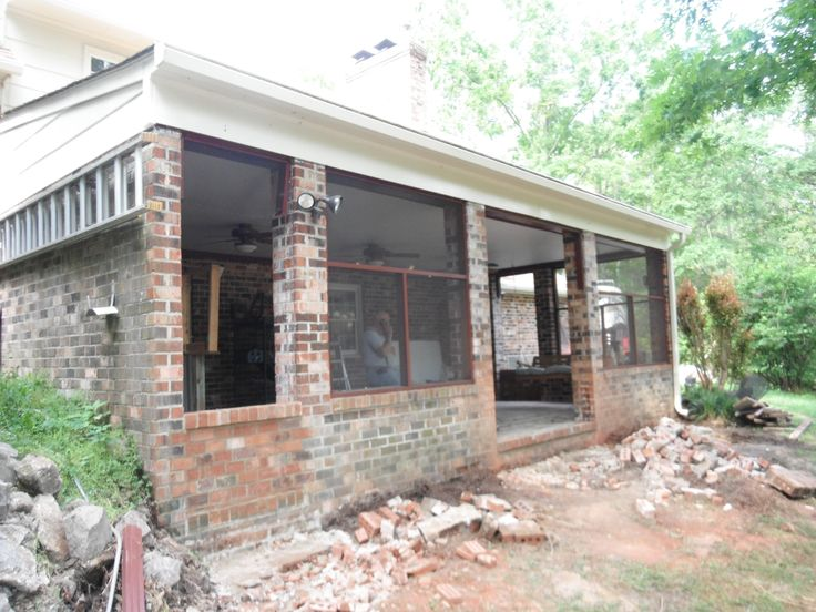 Add Brick Knee Wall Screened Porch Along Back Of House