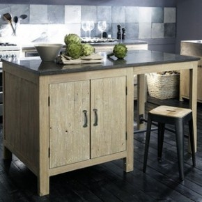 Copenhaue: Recycled wood (natural gray colored) kitchen, with outdated metal finish, and stone countertops.