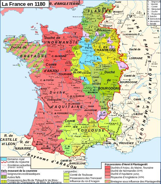 Map of France 1180 (France is in blue); nice summary of relative possessions of the Angevins and Philip Augustus.
