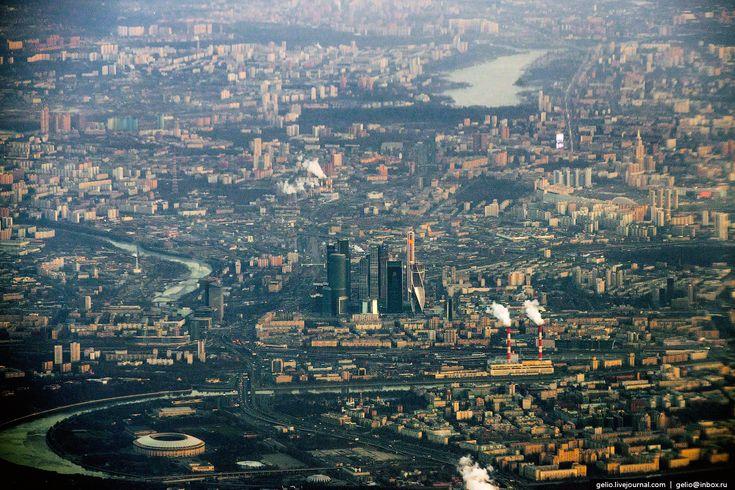 Фотографии из окна самолёта - 2014 | Небоскребы «Москва-Сити»