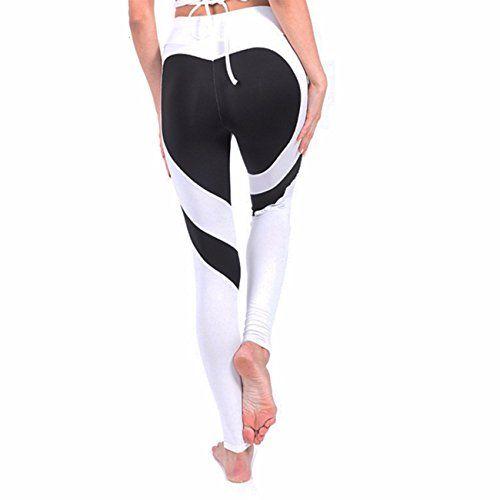 e9c3088b5 Fittoo Women s Heart Shape Yoga Pants Sport Pants Workout Leggings Sexy  High Waist Trousers - White