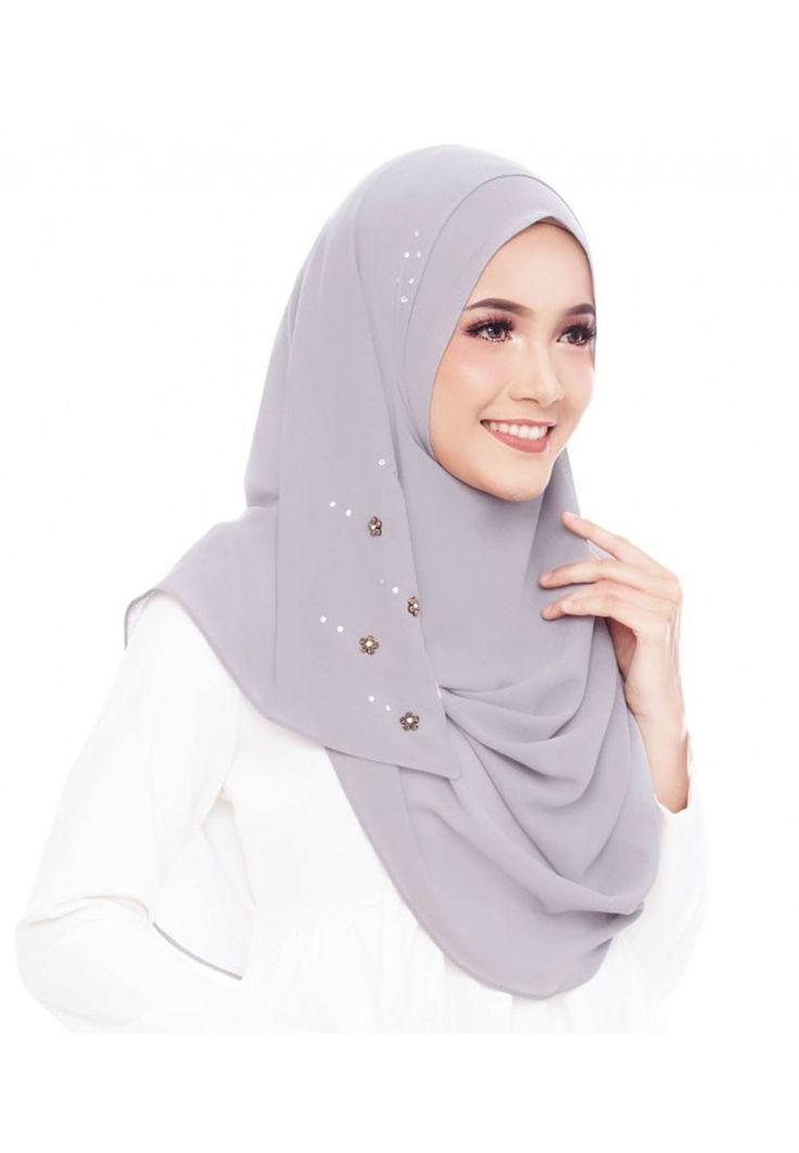 Elle Norell Flower Bead Chiffon Instant Shawl Double Loop in Old Grey_1