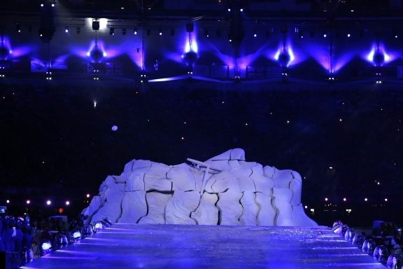 A sculpture in the shape of late Beatle John Lennon is seen during the Closing Ceremony at the 2012 Summer Olympics in London, Aug. 12, 2012.