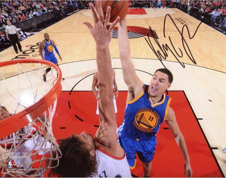 """Klay Thompson Golden State Warriors Autographed Dunking on Robin Lopez 08"""" x 10"""" Photograph"""