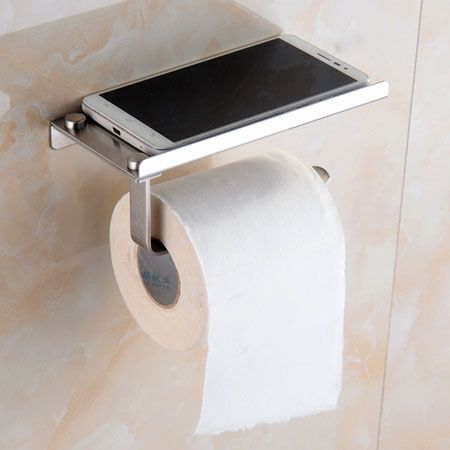 Toilet roll holder with mobile phone shelf bathroom for Bathroom accessories toilet roll holder