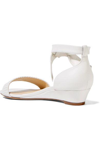 Alexandre Birman - Atenah Bow-embellished Leather Wedge Sandals - White