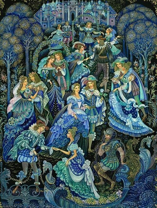 The Worn -out dancing shoes by Vera Smirnova of Palekh: