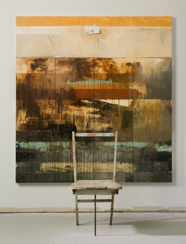 """Radical Acts II with chair, 2008, mixed media with found object 64 x 60""""/ by Kathryn Frund"""