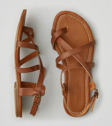 PIN: sjashleymarie // Brown AEO Strappy Sandal Like this look, but dressier - gold/silver