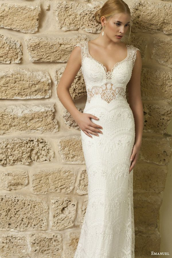 emanuel haute couture bridal 2015 cap sleeve sheath wedding dress intricate detailing