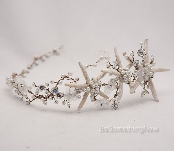 This is beautiful! Beach Wedding Starfish and Pearl Wired Hair Vine by BeSomethingNew. Would also be great for a nautical themed wedding.