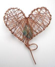 New Zealand Object Art - Copper Heart wrapped around Paua Shell