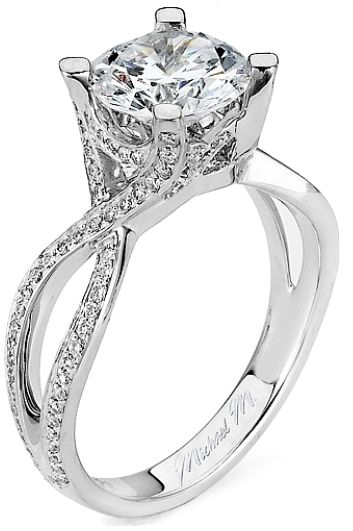 Twist Shank Diamond Engagement Ring by Michael M. Via Diamonds in the Library.