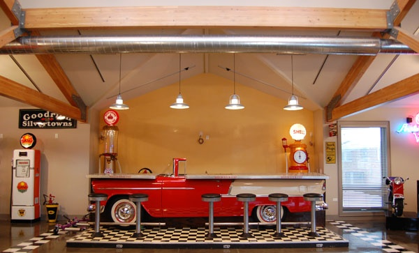 A bar made out of a 1956 Chevy... too cool.