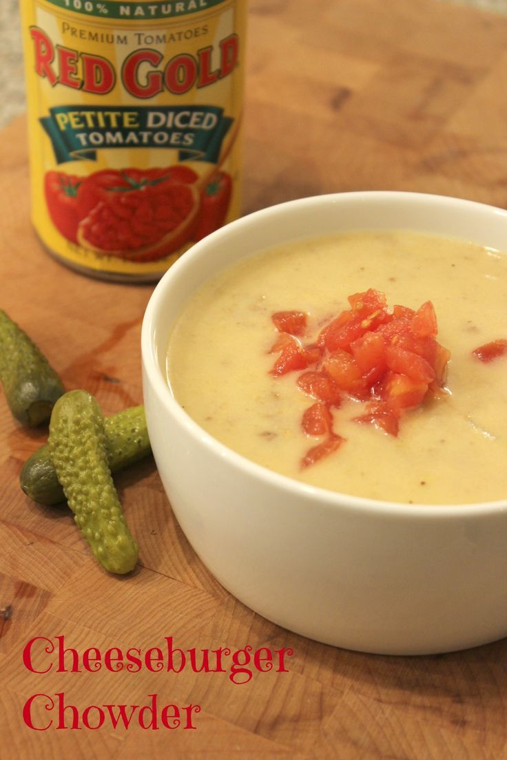Cheeseburger Chowder -The best of a burger basket in a bowl without the guilt!
