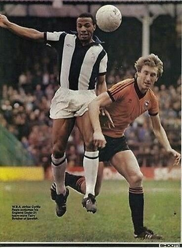 West Brom 2 Ipswich Town 1 in Aug 1978 at The Hawthorns. Cyrille Regis and Terry Butcher in action #Div1