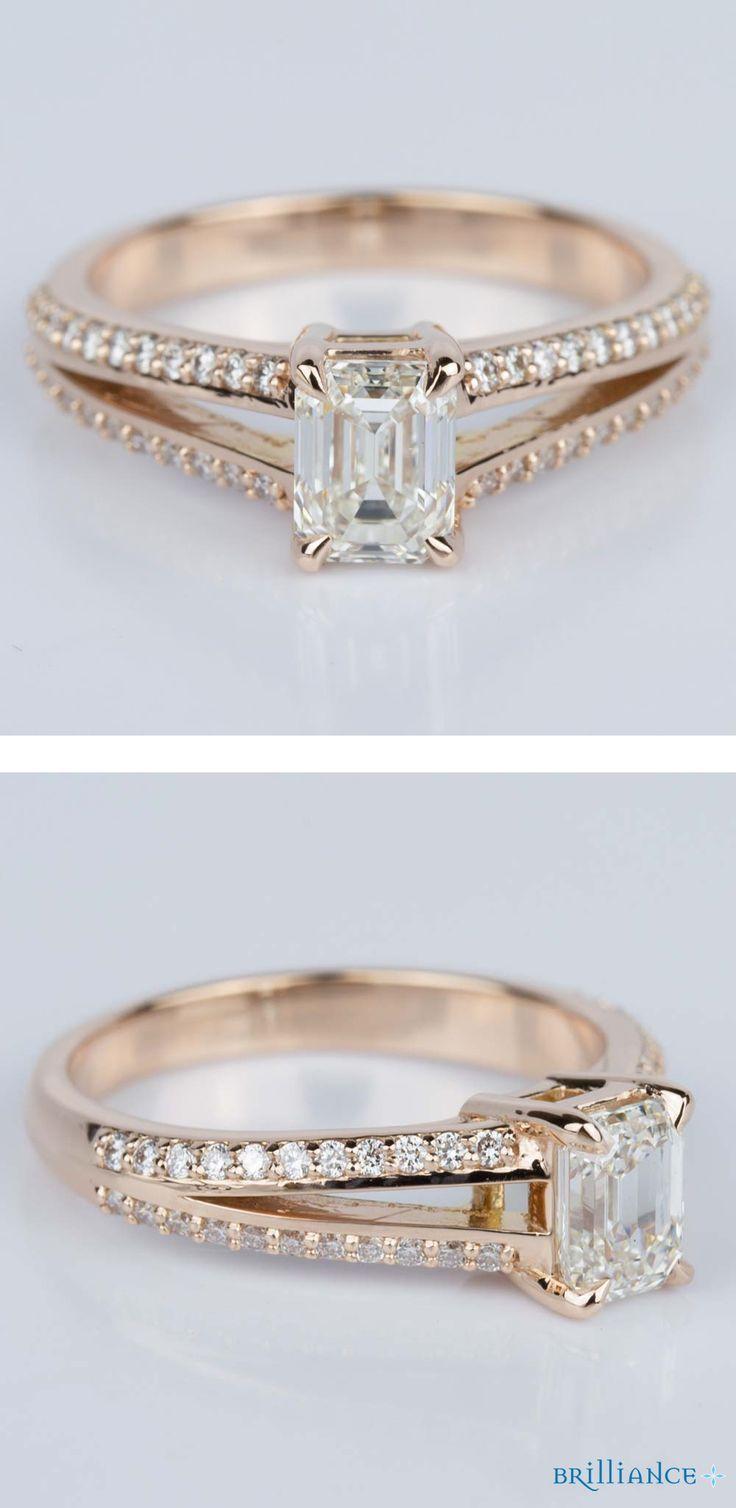 Split Shank Diamond Engagement Ring in Rose Gold