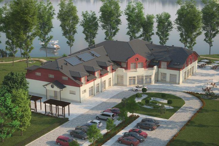 Projekt budynku gastronomiczno - usługowego z zapleczem noclegowym K-40A. Budynek może pełnić funkcję pensjonatu, domu weselnego, konferencyjną, wystawienniczą czy rekreacyjną. Budynek parterowy z poddaszem użytkowym, bez podpiwniczenia.
