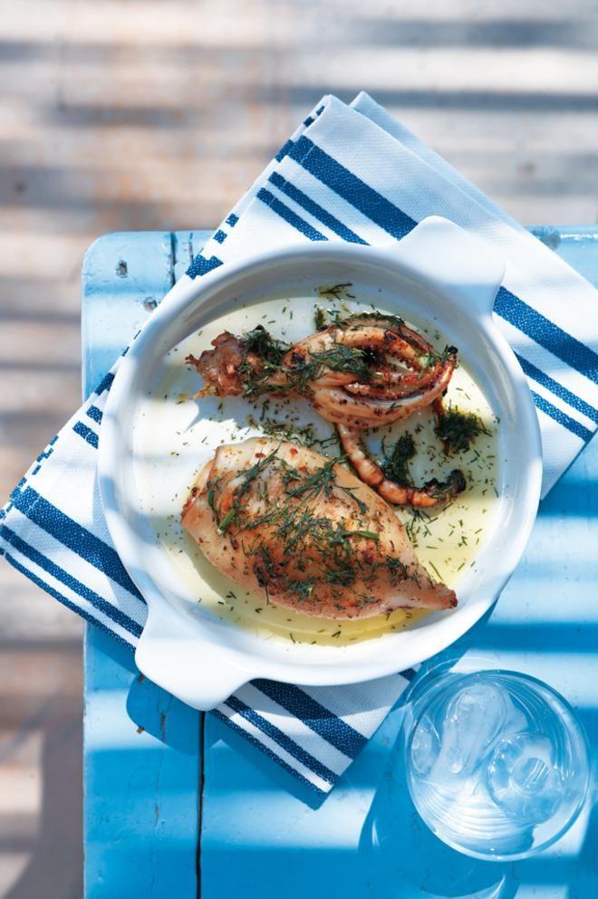 Baked Squid with parsley. Καλαμαράκι ψητό και pesto άνηθου.