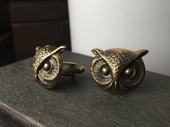 Gold Steampunk Cufflinks Men's Cufflinks  Owl Cufflinks