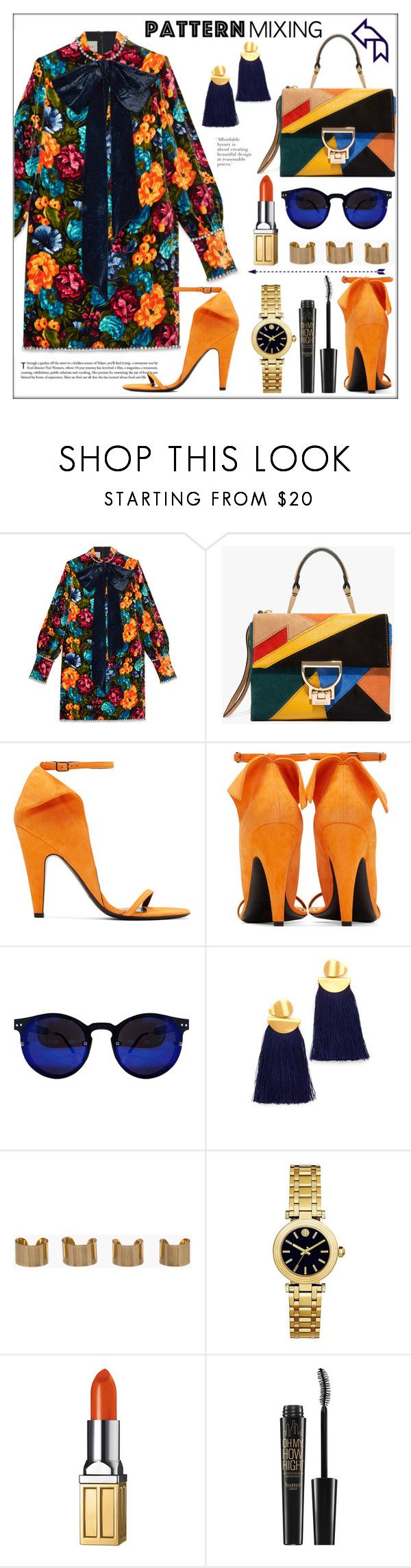 """""""Pattern Mixing on a Fall Day"""" by pat912 ❤ liked on Polyvore featuring Gucci, Calvin Klein 205W39NYC, Lizzie Fortunato, Maison Margiela, Tory Burch, Elizabeth Arden, Butter London and polyvoreeditorial"""
