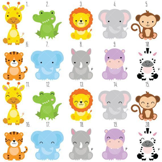 Safari Baby Animals Clipart / Jungle Animals Clipart / Zoo