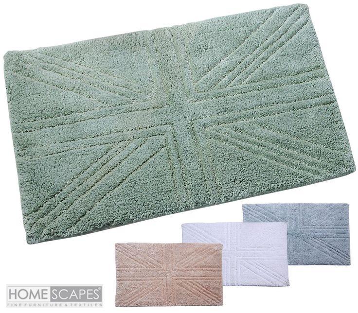Bathroom Shower Mat Small Large Super Soft Cotton Washable Union Jack Toilet Mat