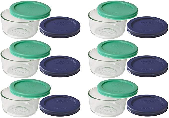 Pyrex Storage 1 Cup Round Dish Clear With Green Blue Lids Pack Of 6 Containers Review Pyrex Storage Pyrex Pyrex Glass