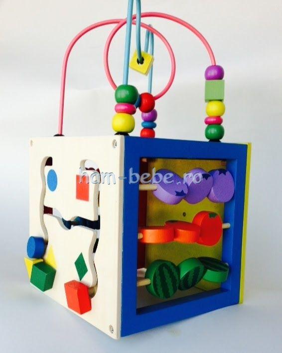 Cub educativ din lemn Montessori 5 activitati 15 cm