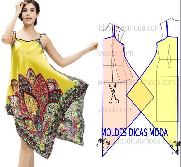 Passo a passo molde vestido lenço, observe com atenção a transformação do molde base neste belo modelo.