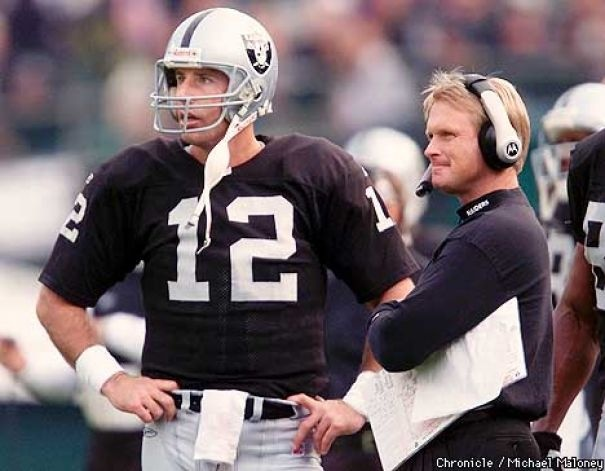 Rich Gannon #12 with Head Coach Jon Gruden.