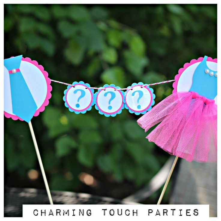 Gender Reveal Cake Topper by Charming Touch Parties.  Hot pink and turquoise, Ties or Tutus.  Customizable. by CharmingTouchParties on Etsy